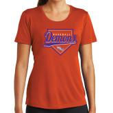 Ladies Syntrel Performance Orange Tee-Demons Baseball Plate Script