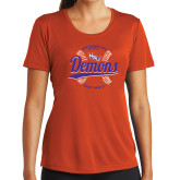 Ladies Syntrel Performance Orange Tee-Demons Softball Seams