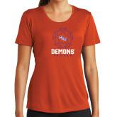 Ladies Syntrel Performance Orange Tee-Demons Soccer Geometric