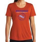 Ladies Syntrel Performance Orange Tee-Demons Volleyball Stacked