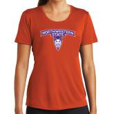 Ladies Syntrel Performance Orange Tee-Arched Northwestern State w/Demon Head
