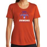 Ladies Syntrel Performance Orange Tee-Demons Basketball Stacked