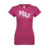 Ladies SoftStyle Junior Fitted Fuchsia Tee-NSU