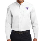 White Twill Button Down Long Sleeve-Arched Northwestern State w/Demon Head