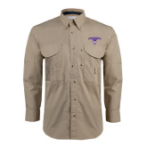 Khaki Long Sleeve Performance Fishing Shirt-Arched Northwestern State w/Demon Head