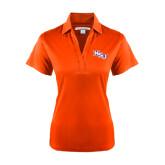 Ladies Orange Performance Fine Jacquard Polo-NSU