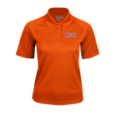 Ladies Orange Textured Saddle Shoulder Polo-Arched NSU