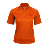 Ladies Orange Textured Saddle Shoulder Polo-NSU