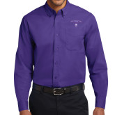 Purple Twill Button Down Long Sleeve-Arched Northwestern State w/Demon Head