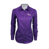 Ladies Purple Twill Button Down Long Sleeve-NSU