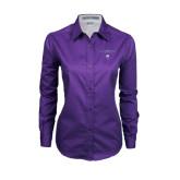 Ladies Purple Twill Button Down Long Sleeve-Arched Northwestern State w/Demon Head