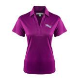 Ladies Purple Performance Fine Jacquard Polo-NSU