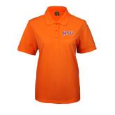 Ladies Easycare Orange Pique Polo-Arched NSU