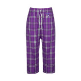 Ladies Purple/White Flannel Pajama Pant-Arched Northwestern State w/Demon Head