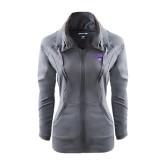Ladies Sport Wick Stretch Full Zip Charcoal Jacket-Arched Northwestern State w/Demon Head