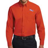 Orange Twill Button Down Long Sleeve-NSU