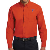 Orange Twill Button Down Long Sleeve-Arched Northwestern State w/Demon Head