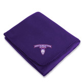 Purple Arctic Fleece Blanket-Arched Northwestern State w/Demon Head