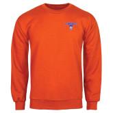 Orange Fleece Crew-Arched Northwestern State w/Demon Head