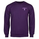 Purple Fleece Crew-Arched Northwestern State w/Demon Head