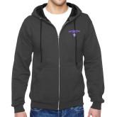 Charcoal Fleece Full Zip Hoodie-Arched Northwestern State w/Demon Head