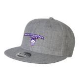 Heather Grey Wool Blend Flat Bill Snapback Hat-Arched Northwestern State w/Demon Head