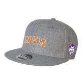 Heather Grey Wool Blend Flat Bill Snapback Hat-Arched NSU
