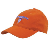 Orange Flexfit Mid Profile Hat-Arched Northwestern State w/Demon Head
