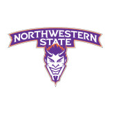 Medium Magnet-Arched Northwestern State w/Demon Head, 8 inches wide