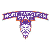 Extra Large Magnet-Arched Northwestern State w/Demon Head, 18 inches wide