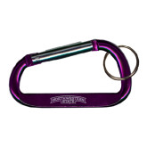 Purple Carabiner with Split Ring-Arched Northwestern State Engraved