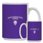 Full Color White Mug 15oz-Arched Northwestern State w/Demon Head