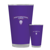 Full Color Glass 17oz-Arched Northwestern State w/Demon Head