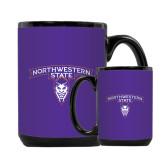 Full Color Black Mug 15oz-Arched Northwestern State w/Demon Head