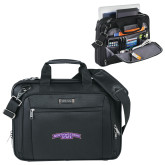 Kenneth Cole Black Vertical Checkpoint Friendly Messenger-Arched Northwestern State