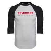 White/Black Raglan Baseball T-Shirt-Newberry Wolves