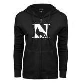 ENZA Ladies Black Fleece Full Zip Hoodie-N Mark