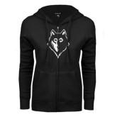 ENZA Ladies Black Fleece Full Zip Hoodie-Wolf Head