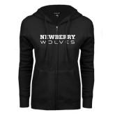 ENZA Ladies Black Fleece Full Zip Hoodie-Newberry Wolves