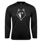 Syntrel Performance Black Longsleeve Shirt-Wolf Head