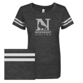 ENZA Ladies Black/White Vintage Triblend Football Tee-Official Logo White Soft Glitter