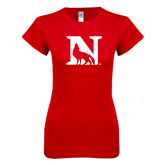 Next Level Ladies SoftStyle Junior Fitted Red Tee-N Mark
