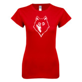 Next Level Ladies SoftStyle Junior Fitted Red Tee-Wolf Head