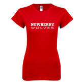 Next Level Ladies SoftStyle Junior Fitted Red Tee-Newberry Wolves