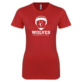 Next Level Ladies SoftStyle Junior Fitted Red Tee-Wrestling Design