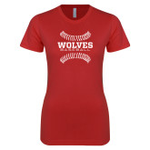 Next Level Ladies SoftStyle Junior Fitted Red Tee-Baseball Design