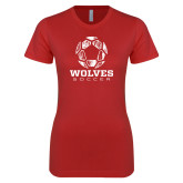 Next Level Ladies SoftStyle Junior Fitted Red Tee-Soccer Design