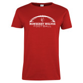 Ladies Red T Shirt-Arched Football Design