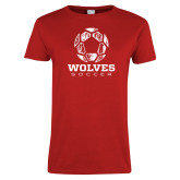 Ladies Red T Shirt-Soccer Design