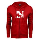 ENZA Ladies Red Fleece Full Zip Hoodie-N Mark